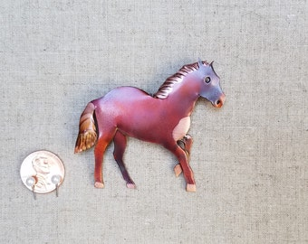 Flame painted copper Horse, pin
