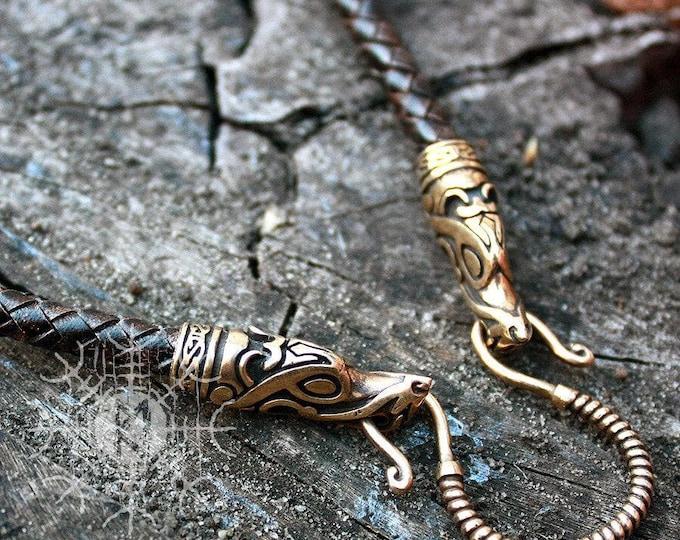 Handmade Genuine Leather Necklaces Braided Round Three Colors Bronze Wolf Heads Fenrir