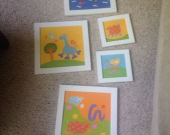 Vintage colorful childrens prints three large two small framed