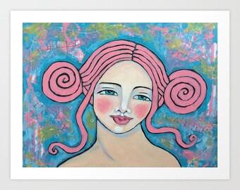 Believe Love Courage Faith Whimsical Folk Art