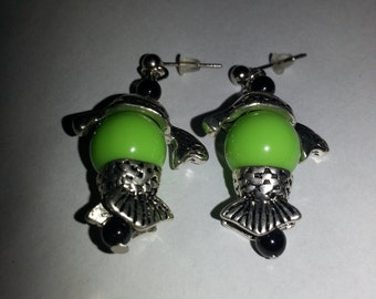 Green fish earrings