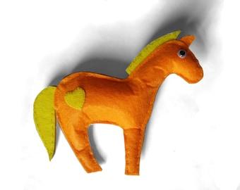 Felt Decoration Pony Orange Yellow