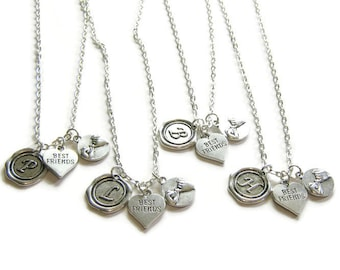 4 Best Friends Necklaces,Wax Seal Initial,  Pinky Promise And Heart Best Friend, Four Best Friends, 4 BFF Necklaces, 4 Friends Jewelry