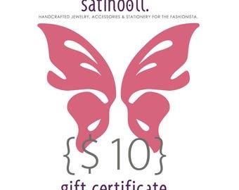 10 Dollar Satin Doll Gift Certificate