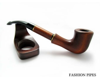 "Long Tobacco Smoking Pipe ""Teahouse"" Pear Wood Handcrafted"