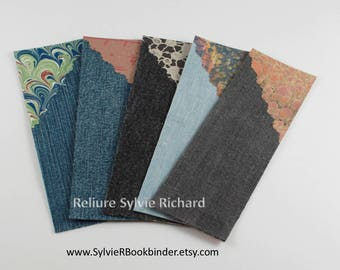 Set of 5 bookmarks made of recycled jeans and decorated papers #3 - Page markers in jeans and papers - original bookmarks