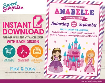 INSTANT DOWNLOAD Princess Invitation, Princess Birthday Invitation, Princess Invites, Princess Party, Any Age, Girl Birthday Invitation, 1st