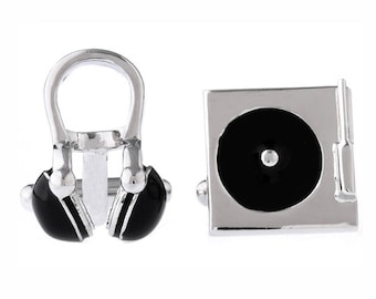 DJ Headphones And Turntable Cufflinks