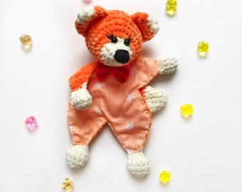 knitted Fox Fox from yarn Comforter toy-napkin toy for kids red Fox plush Fox toy in bed Fox hand knitted Fox from plush yarn orange Fox