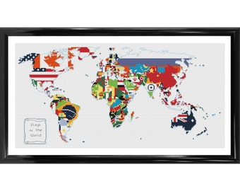 Flags of the World - Map Counted Cross Stitch Kit