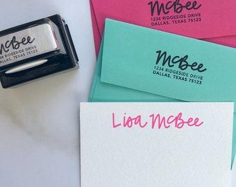 Hand lettered self-inking return address stamp