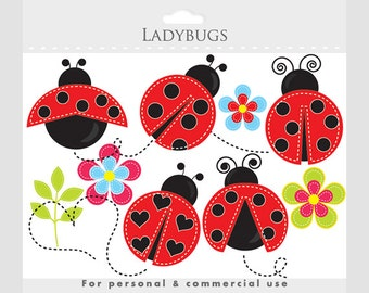 Ladybug clipart - stitched ladybugs clip art, lady bugs, cute, whimsical, insects, bugs, buggy, flowers, leaves, floral