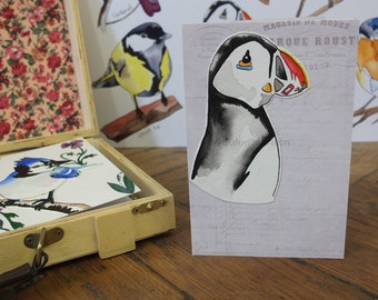 "Hand Made Card / Illustrated Greeting Card/ Bird Card / Hand Made Greeting Card ""Puffin"""