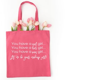 Makeup Girl Lightweight Pink Tote Bag - Makeup Consultant Gifts - Raffle Giveaway - PC Perks - Toiletry Bag - Swag Bag