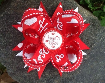 Hugs & Kisses Valentines Day Boutique Bottlecap Hairbow