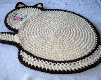 Crocheted Cat Rug, Cream and Brown Handmade Rug, Child's Room, Crocheted Wall Hanging, Nursery Rug, Playroom Rug, Bathroom Rug, Child's Gift