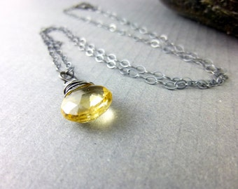 Quartz Crystal Chakra Necklace Golden Gemstone Drop Pendant Sterling Silver Wire Wrapped Beer Quartz Pendant Healing Energy Chakra Jewelry
