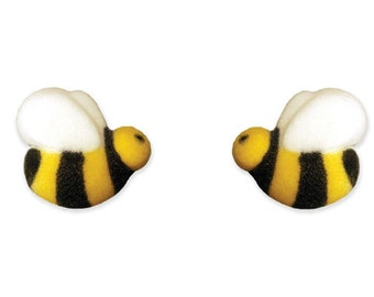 Bumble Bee Sugar Pieces / Edible Bees / Bee cupcake toppers / Decorations / Supplies