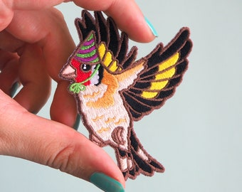 Goldfinch in a Party Hat Patch - Iron on Embroidered Bird Patch - Gold finch cute Birds in Hats patch wearing a Party Hat, Finch Pin