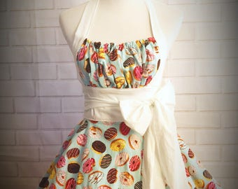 Retro pinup donut apron // great gift for hostess, bride or any other donut lover