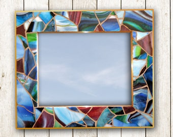 Handmade Blue Hanging Mirror, Nautical Stained Glass Mosaic Mirror, Beach Glass Mosaic Wall Mirror, Nautical Coastal Decor
