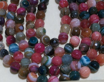 Mixed Color Striped Agate faceted round beads (8 mm)- full strand- 063