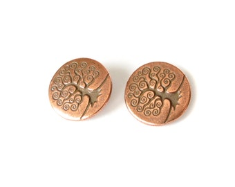 2x Tree of Life buttons copper finish, TierraCast shank buttons, jewelry making supplies, craft supplies UK, metal buttons UK
