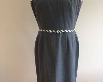 Original Vintage 1960S Shift Dress - Grey and White Cotton