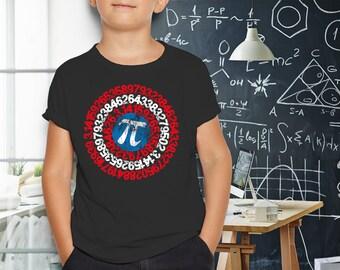 Captain Pi Superhero Youth 8+yr T-Shirt, Pi Day Shirt, Pi Day Tee Shirt, Math Teacher Gift, Mathematics Nerd/Geek Pi Day Gift, Math Shirt