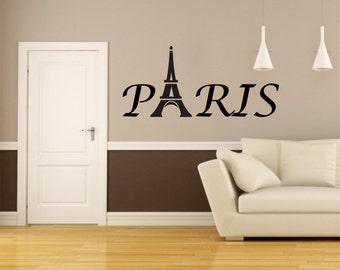 "Large - Paris Eiffel Tower Vinyl Wall Decal  44"" long - Select Color - Stk# WG26.L"