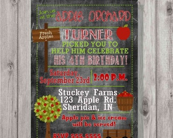 Digital Chalkboard Style Fall Apple Orchard Picking Birthday Party Invitation DIY Printable