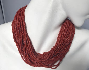 Vtg Multistrand Bead Seed Coral Necklace