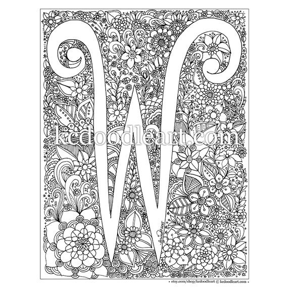 Instant Digital Download Letter W Adult Coloring Page