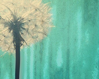 Dandelion Art Print - Aqua Green Nursery Childrens Room Home Decor Wall Flower Floral Surreal Photography