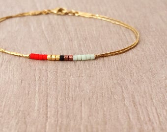 Minimalist Delicate Gold Bracelet with Red & Mint Beads / Thin Tiny Double Beaded Chain Bracelet / Multicolor Boho Friendship Bracelet