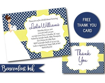 Bridal Shower Invitation in Navy and Yellow Wedding Colors - Printable Wedding Shower Invite
