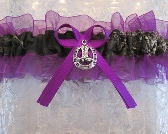 Purple Camo Garter Cowboy Boot Charm Wedding Prom Mossy Oak Break Up Camouflage