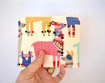 Llama coin purse, zipper pouch, small change pouch