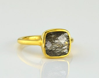 Black rutilated quartz ring - rutilated quartz jewelry - square stone ring - square ring - statement ring - stackable ring - gifts for her