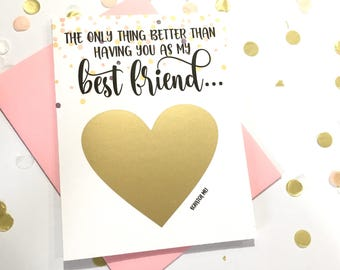 Pregnancy Reveal to Best Friend Scratch Off Card - Pregnancy Announcement  - Auntie - better than having you as my best friend - ROSEY