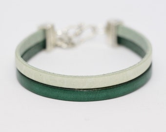 Leather Bracelet leather two-tone green & pale green