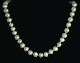 9 mm Pearl Necklace Cream White Freshwater 16 Inch Knotted Silk 925 Silver Hook