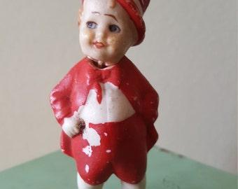 Antique German Bisque Nodder Doll, Hand Painted, Little Boy