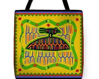 Kuna Indian Mola Bird on Turtle Design Tote Bag - Kuna Design Throw Pillow - Birth of the Earth Gift - Graduation Gift - ReUsable Tote Bag