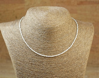 Sterling silver and tiny rice pearls necklace