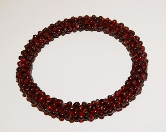 "Garnet Bead 2.40"" inner Diameter Bangle Bracelet."