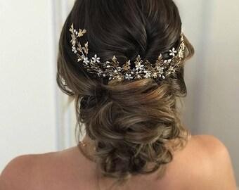 EMELIA   Gold bridal hairpiece, vintage bridal comb, bridal hair accessories, floral wedding hairpiece, vintage wedding hair accessories