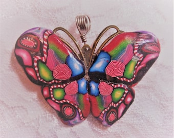 Polymer Clay Red Butterfly Focal Bead Pendant OOAK