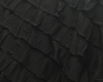 "2"" ruffle fabric black color 54"" ich sold by yard"