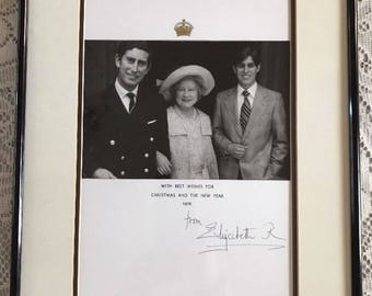 Queen Elizabeth Queen Mother Signed Christmas Card Framed 1975
